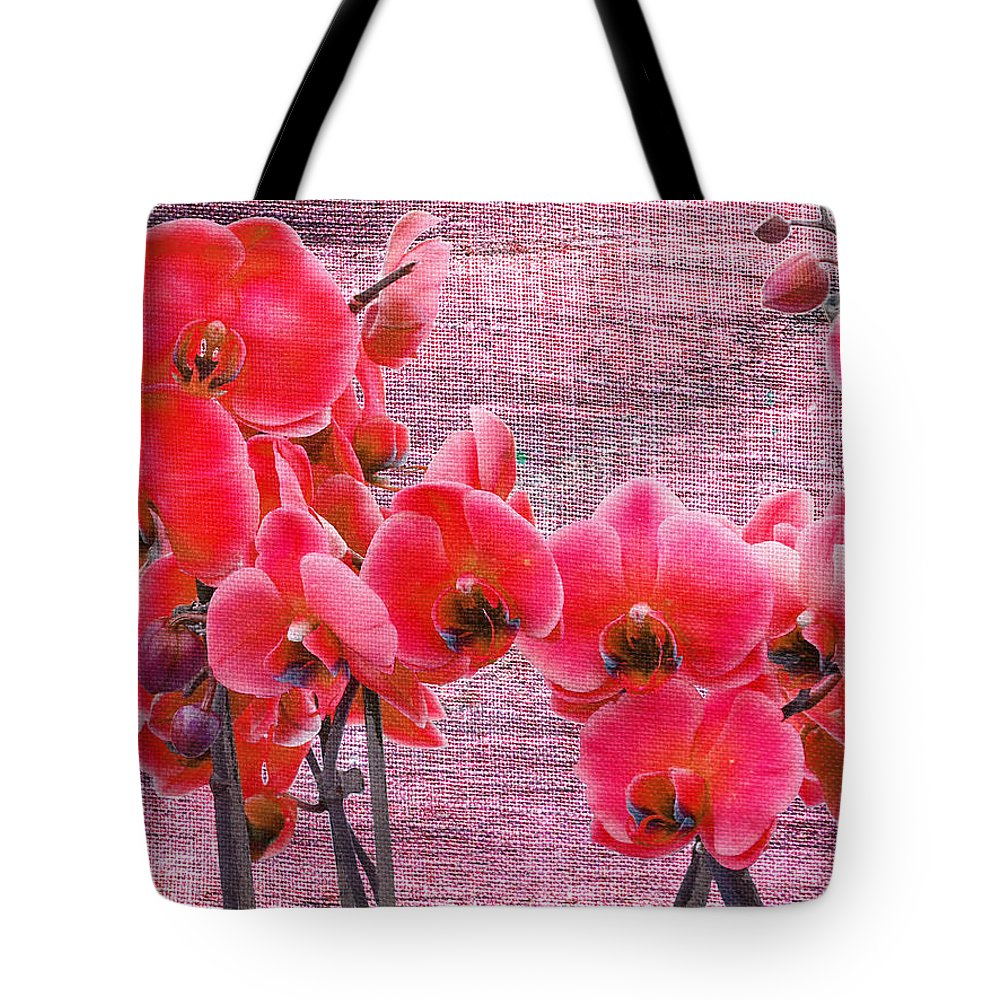 Orchid Tote Bag featuring the photograph Red Orchids On Linen Zen by Suzanne Powers