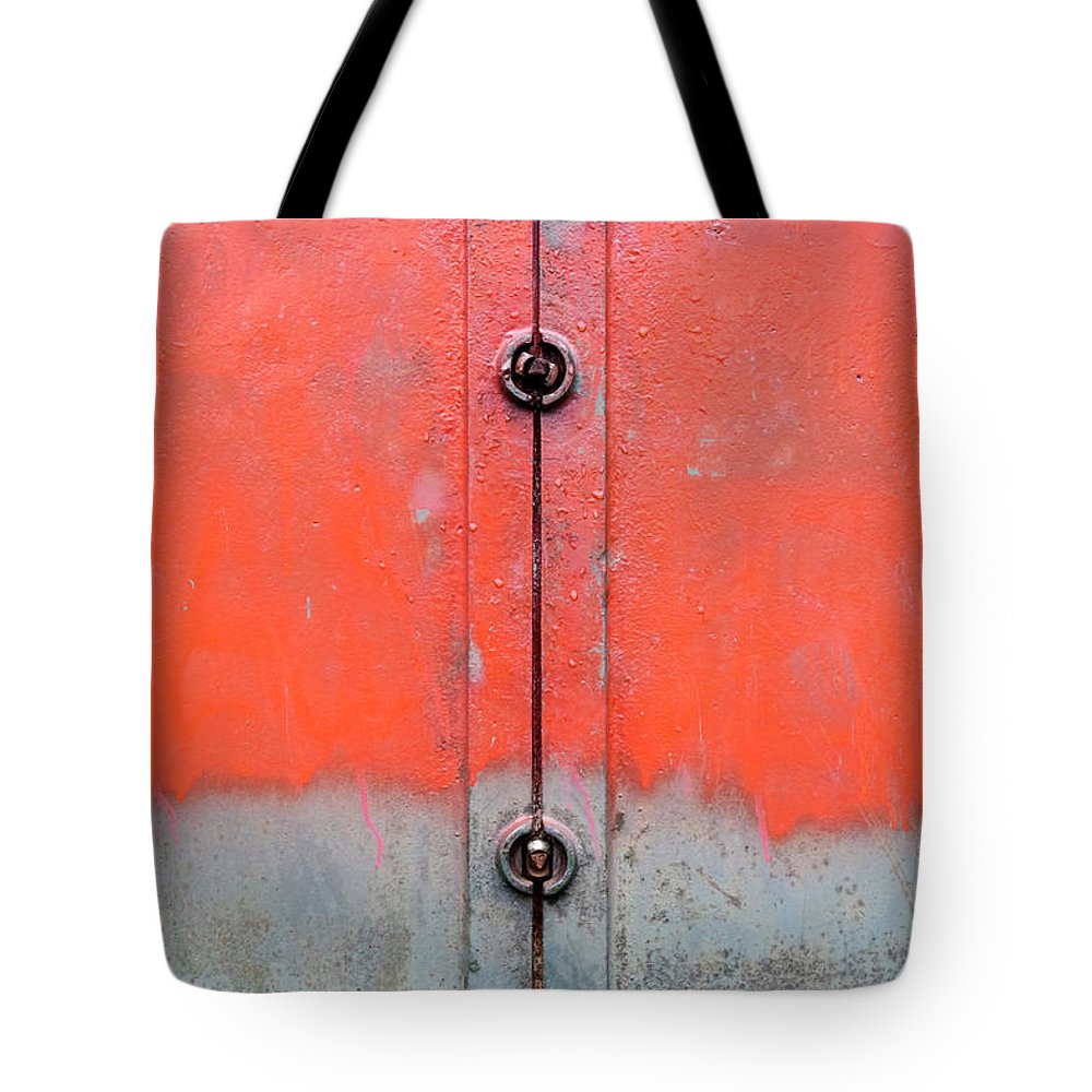 Abstract Tote Bag featuring the photograph Red Over Grey by Richard Nixon