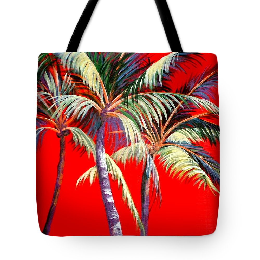 Palm Trees Tote Bag featuring the painting Red Palms by Patricia Rachidi