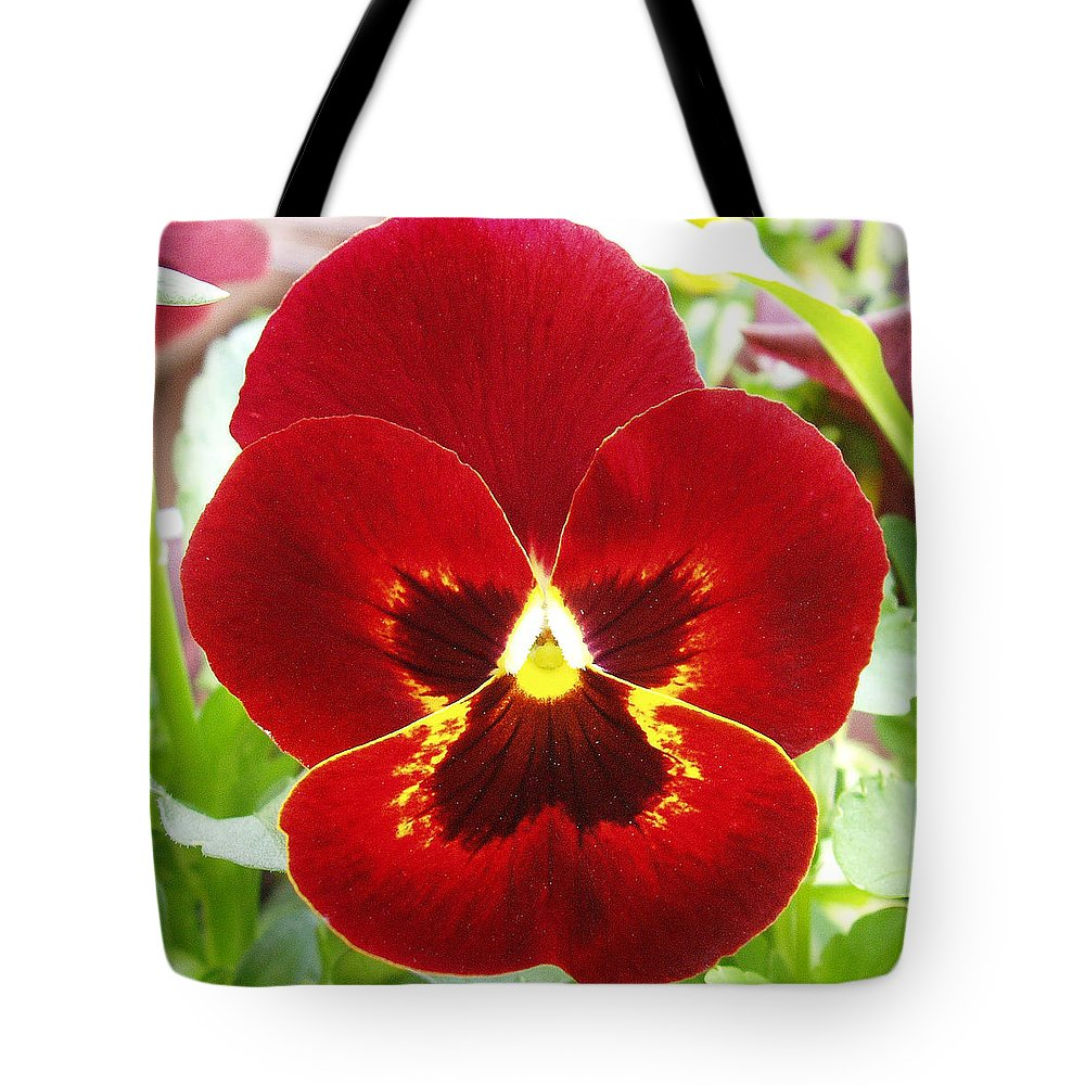 Red Tote Bag featuring the photograph Red Pansy by Nancy Mueller