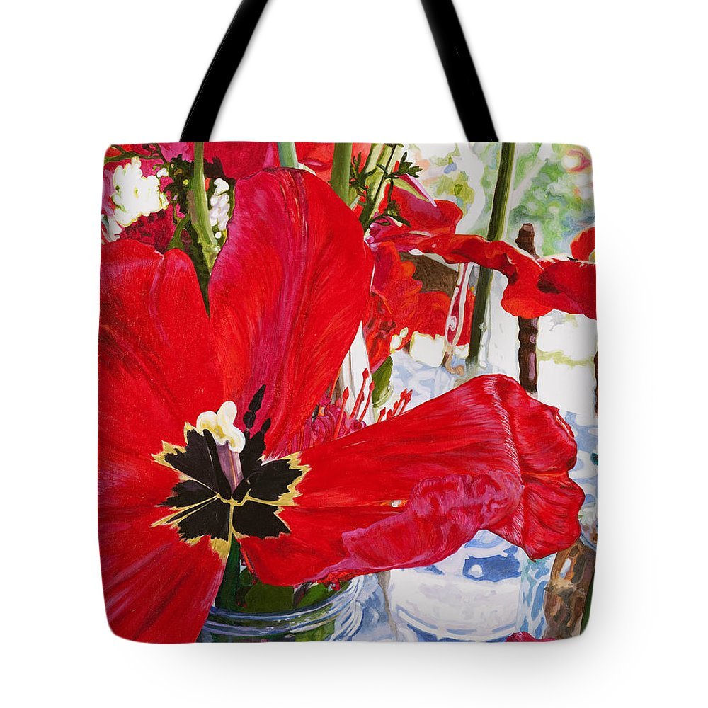 Poppy Tote Bag featuring the painting Red Party Flowers IIi by Lissa Banks