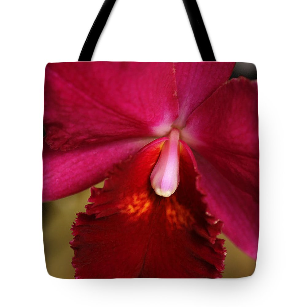 Flower Tote Bag featuring the photograph Red Passion Orchid by Deborah Benoit