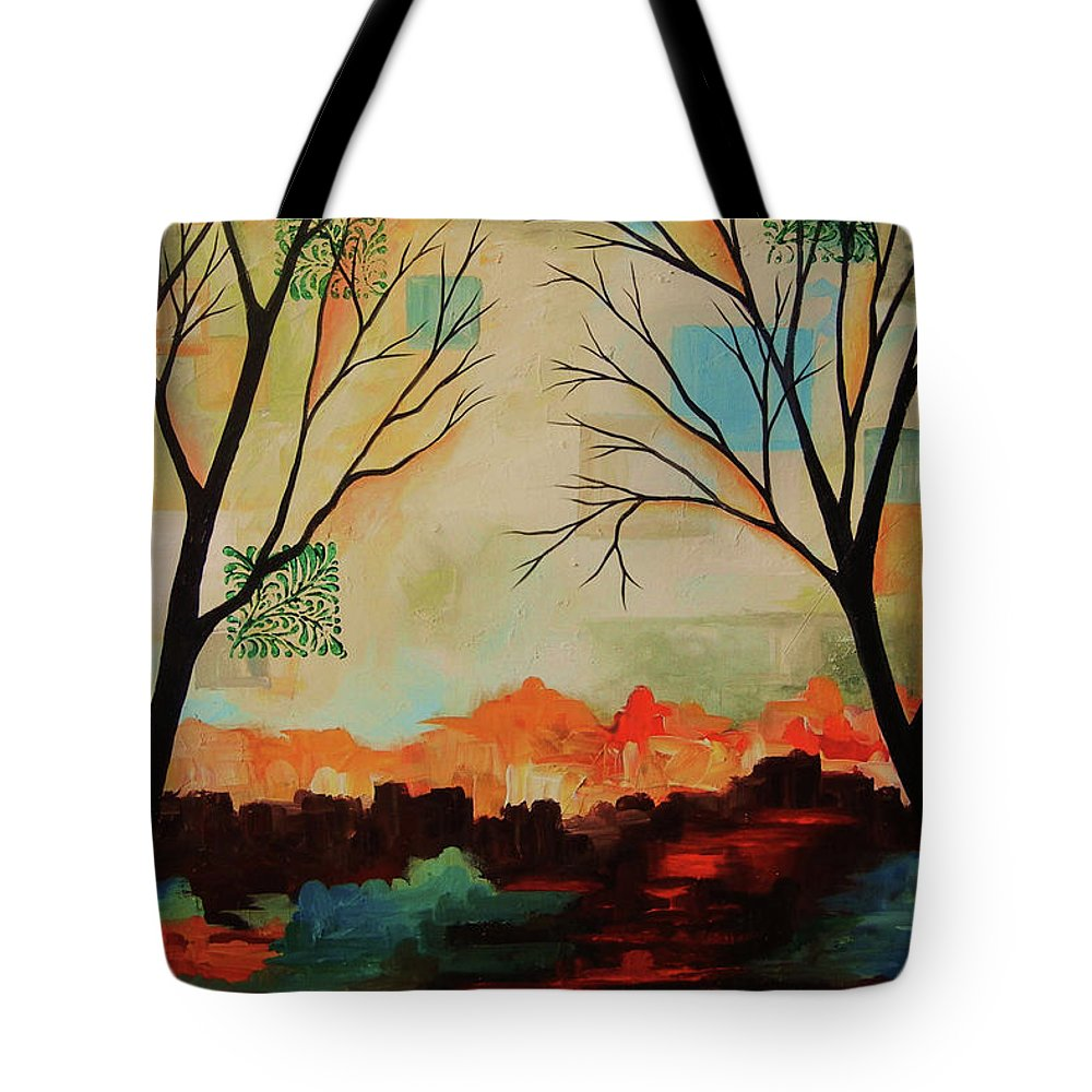 Tree Abstract Tote Bag featuring the painting Red Tree Path by Peggy Davis