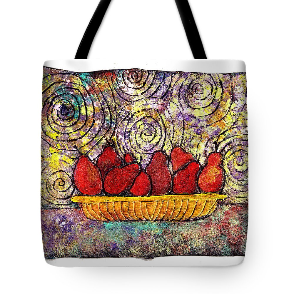 Spirals Tote Bag featuring the painting Red Pears In A Bowl by Wayne Potrafka