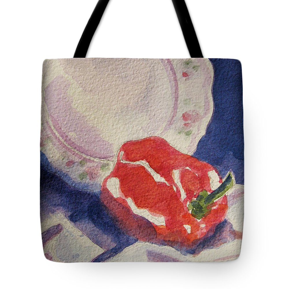 Pepper Tote Bag featuring the painting Red Pepper by Marsha Elliott