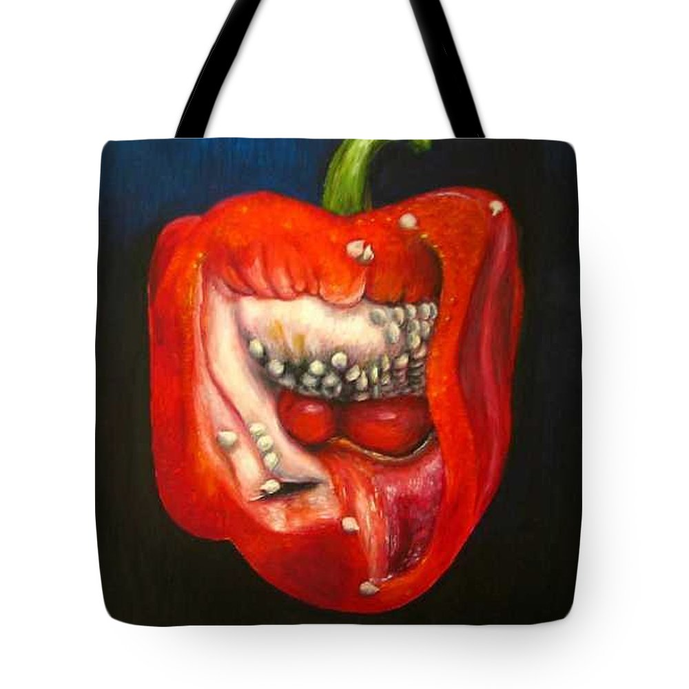 Pepper Tote Bag featuring the painting Red Pepper Oil Painting by Natalja Picugina