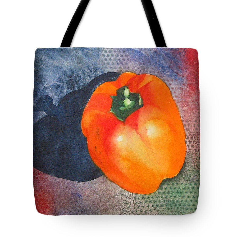 Pepper Tote Bag featuring the painting Red Pepper Solo by Jean Blackmer