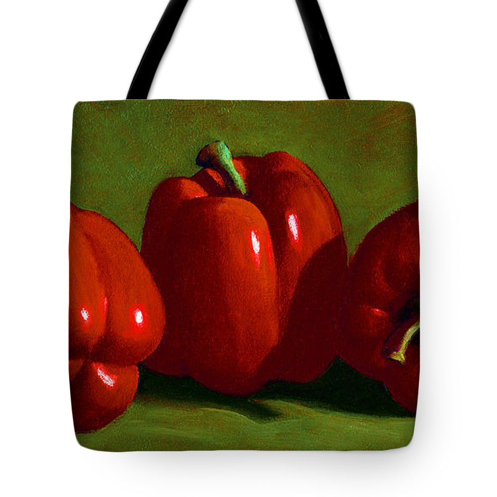 Red Peppers Tote Bag featuring the painting Red Peppers by Frank Wilson