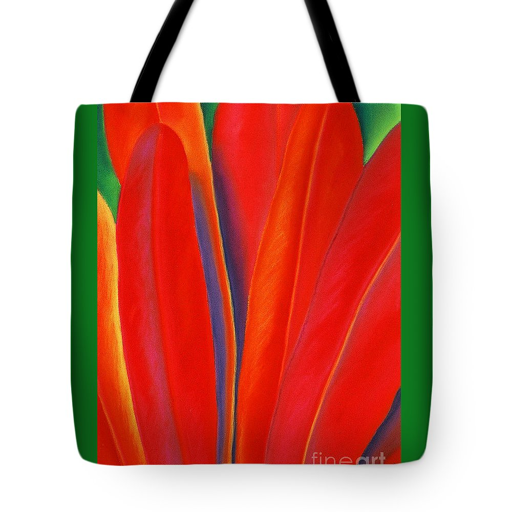 Red Tote Bag featuring the painting Red Petals by Lucy Arnold