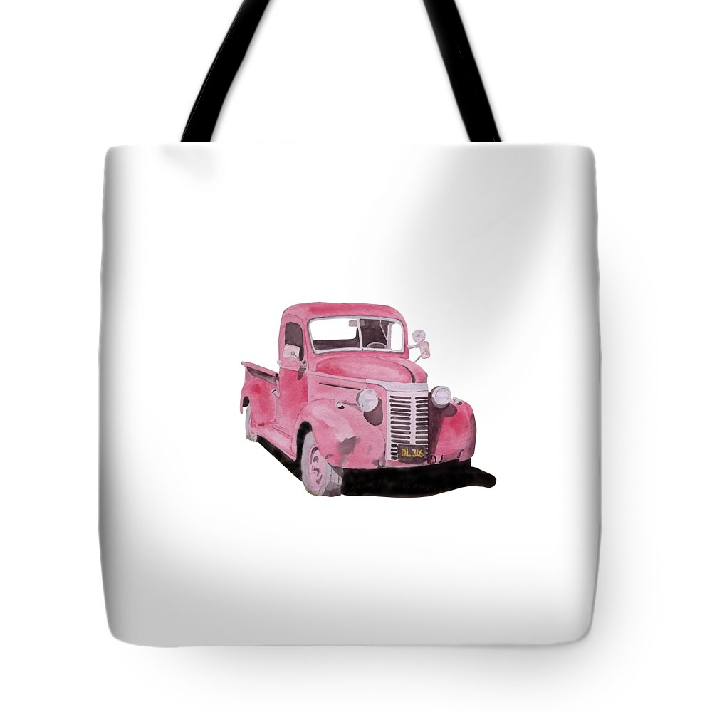 Truck Tote Bag featuring the painting Red Pickup Saturday Night by Gary Thomas