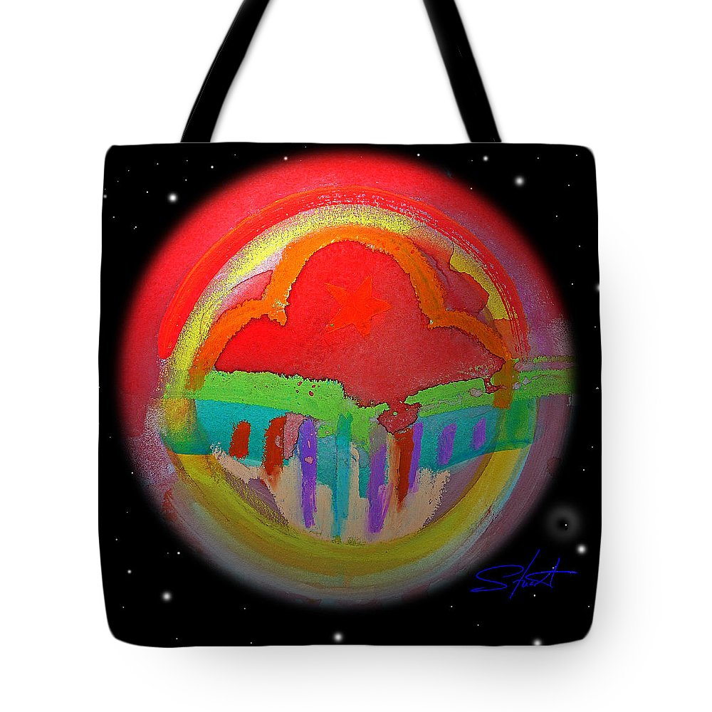 Landscape Tote Bag featuring the painting Red Planet by Charles Stuart