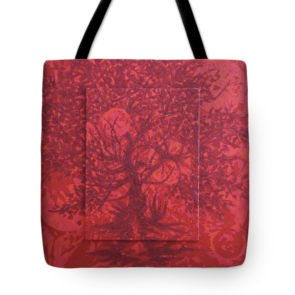 Red Tote Bag featuring the painting Red Planet by Judy Henninger