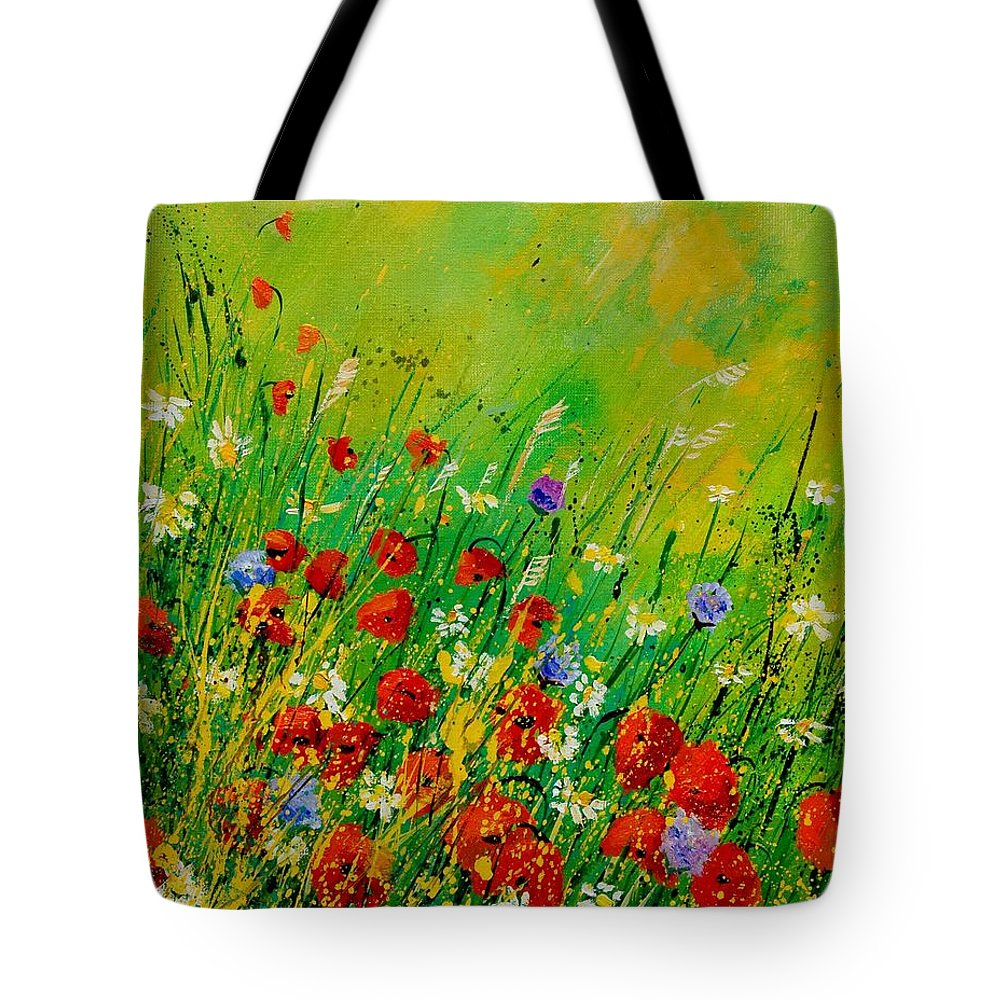 Flowers Tote Bag featuring the painting Red Poppies 450708 by Pol Ledent