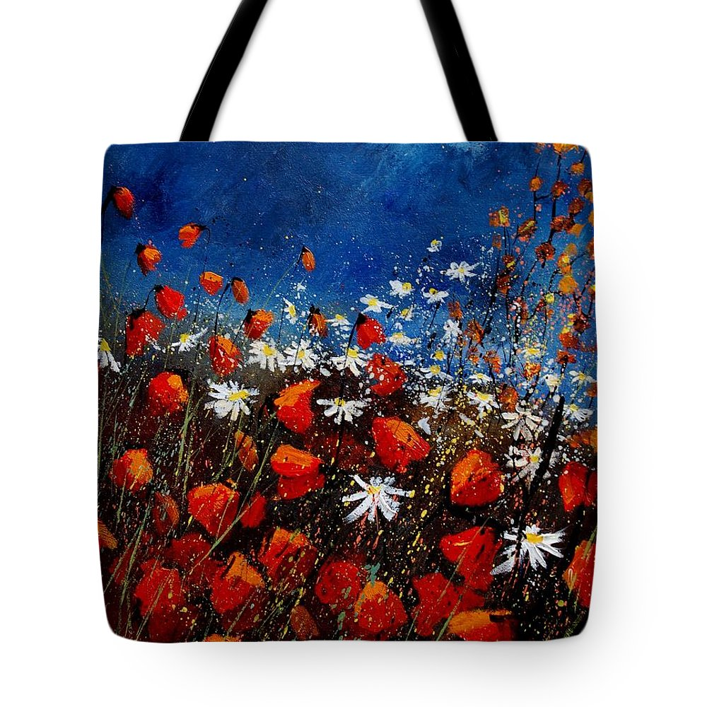Flowers Tote Bag featuring the painting Red Poppies 451108 by Pol Ledent