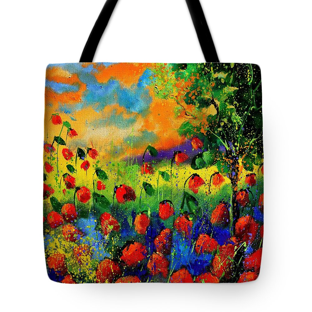 Flowers Tote Bag featuring the painting Red Poppies 45150 by Pol Ledent