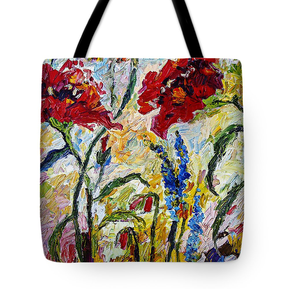 Flowers Tote Bag featuring the painting Red Poppies and Bees Provence by Ginette Callaway