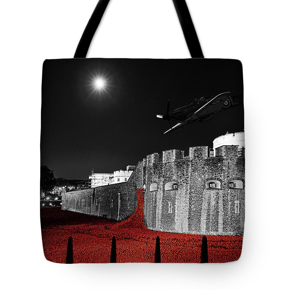 Spitfire Tote Bag featuring the photograph Red Poppies At Tower Of London With Spitfire Flypast by Philip Pound