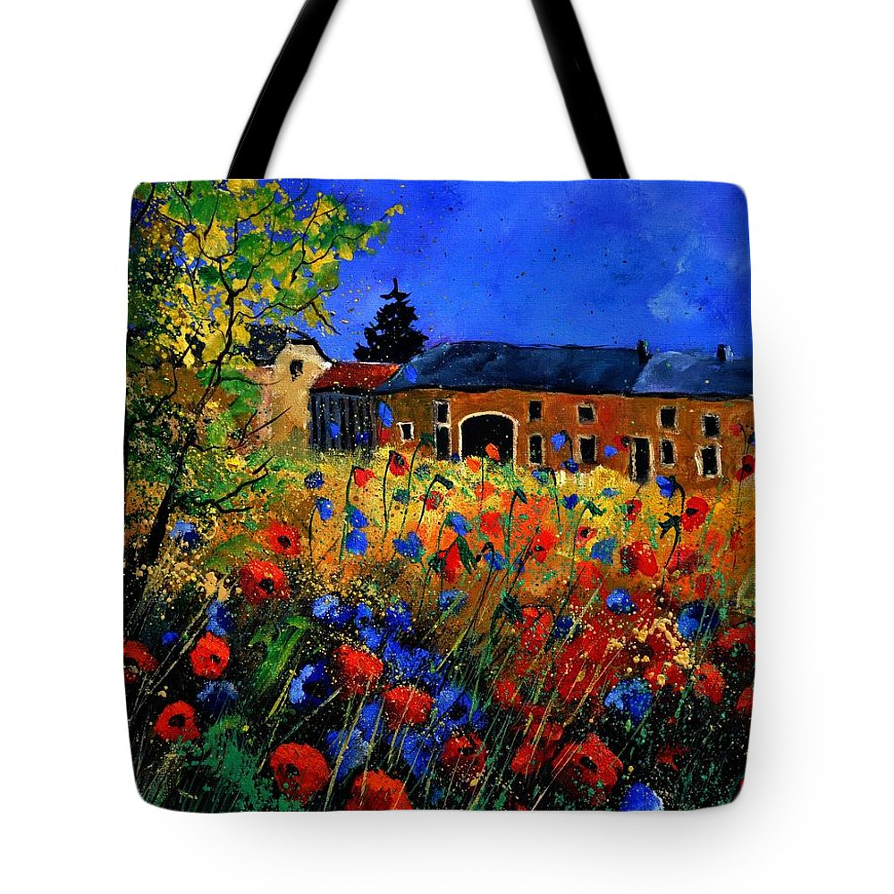 Flowers Tote Bag featuring the painting Red Poppies In Houroy by Pol Ledent