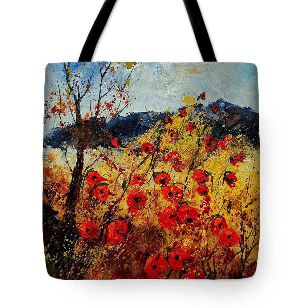 Poppies Tote Bag featuring the painting Red Poppies In Provence by Pol Ledent