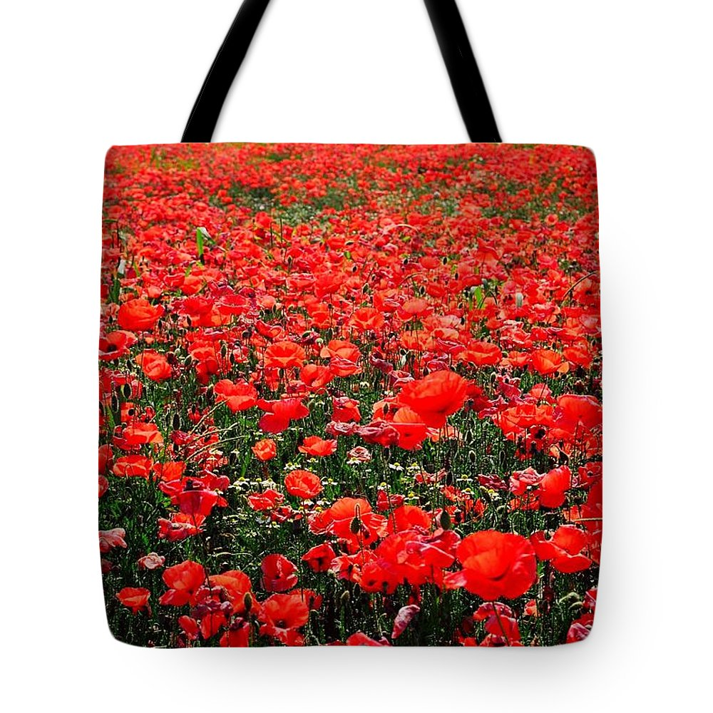 Flower Tote Bag featuring the photograph Red Poppies by Juergen Weiss