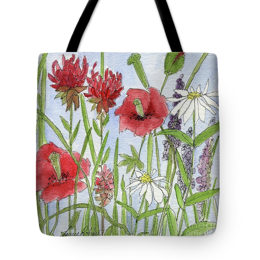 Poppy Tote Bag featuring the painting Red Poppies by Laurie Rohner
