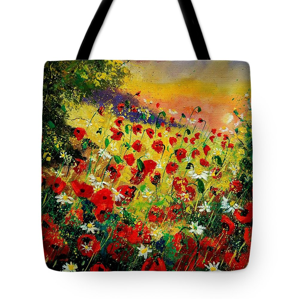 Tree Tote Bag featuring the painting Red Poppies by Pol Ledent