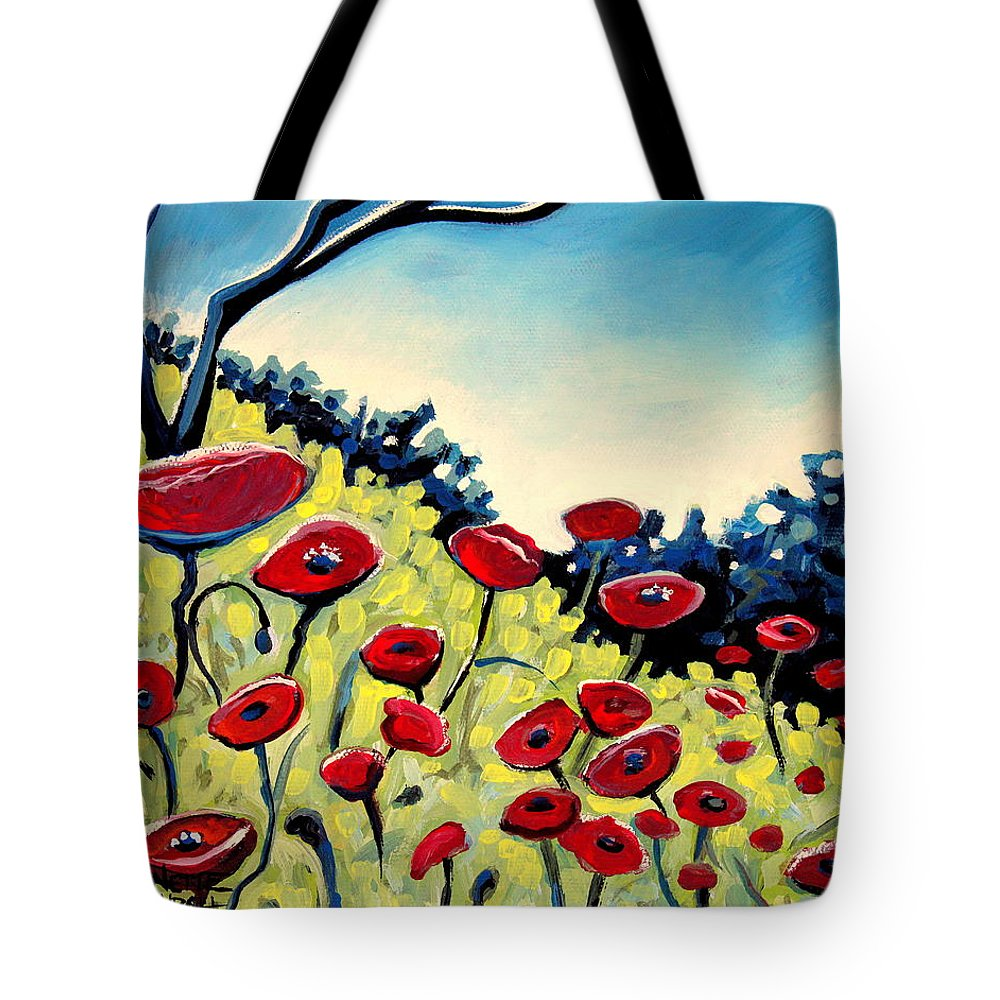 Poppies Tote Bag featuring the painting Red Poppies Under A Blue Sky by Elizabeth Robinette Tyndall