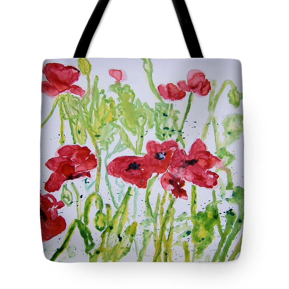 Poppy Tote Bag featuring the painting Red Poppy Flowers by Derek Mccrea
