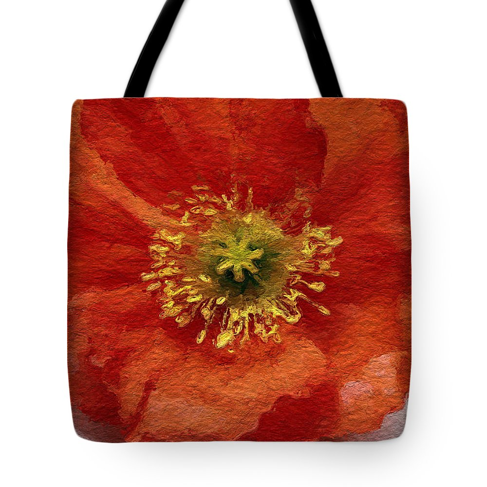 Poppy Tote Bag featuring the mixed media Red Poppy by Linda Woods