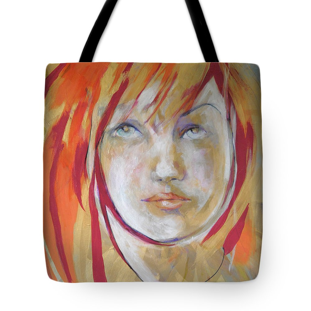 Faces Tote Bag featuring the painting Red Portrait by Michael Clifford Shpack