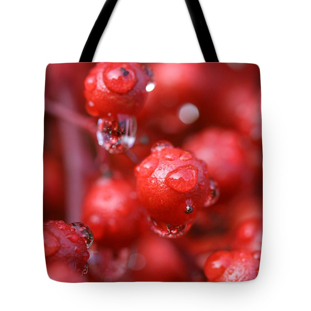 Red Tote Bag featuring the photograph Red Rain by Mitch Cat