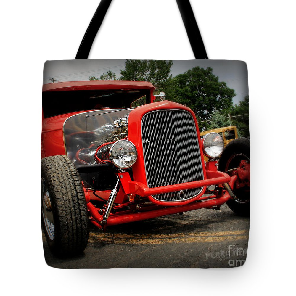 Car Tote Bag featuring the photograph Red Ride 2 by Perry Webster