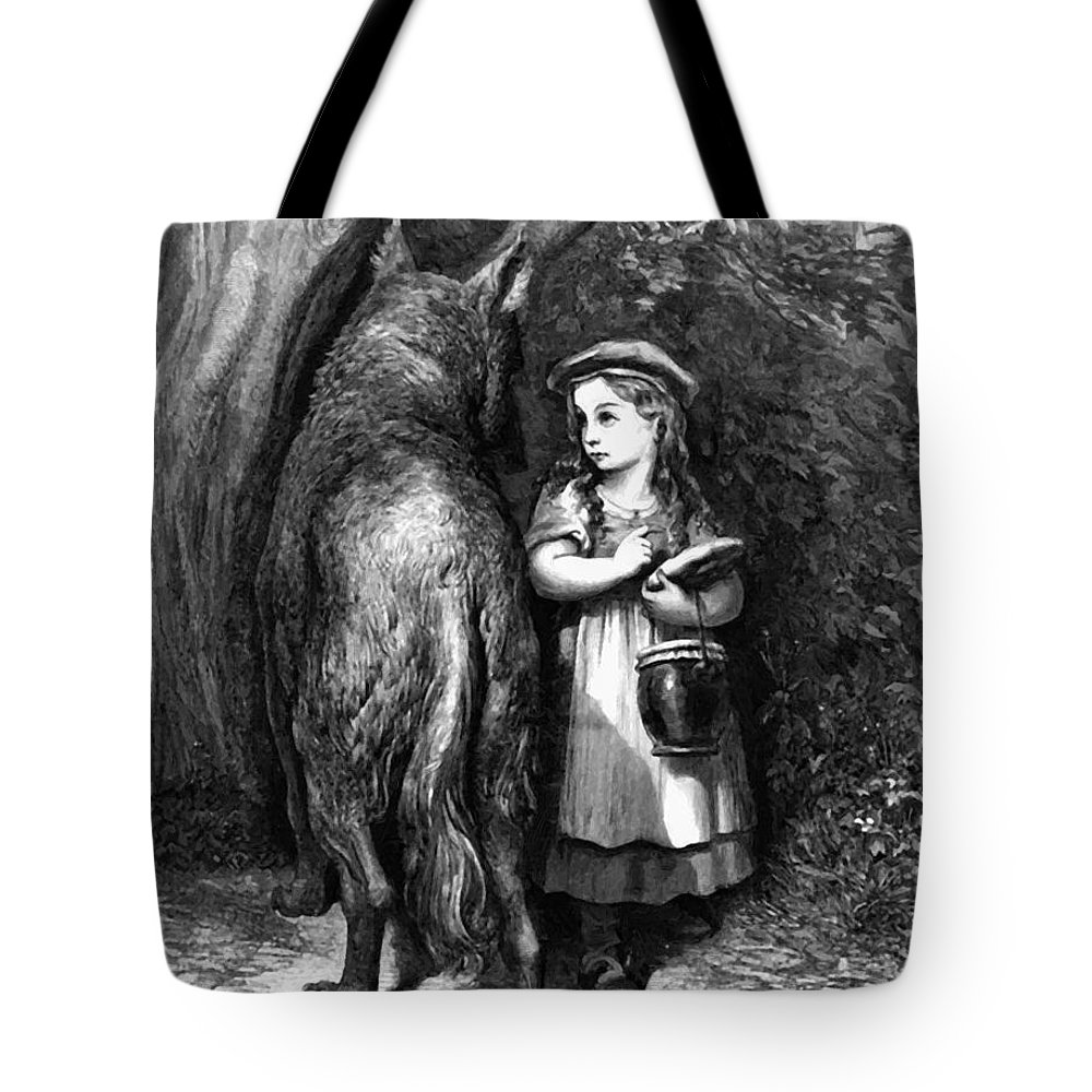 Red Tote Bag featuring the painting Red Riding Hood Meets Old Father Wolf by Dore Gustave