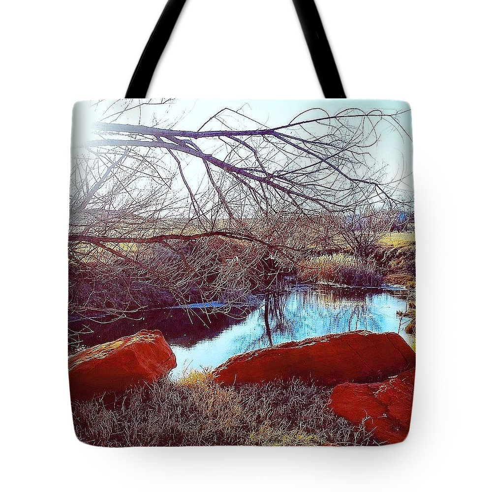 Pond Tote Bag featuring the photograph Red Rock by Cheyene Vandament