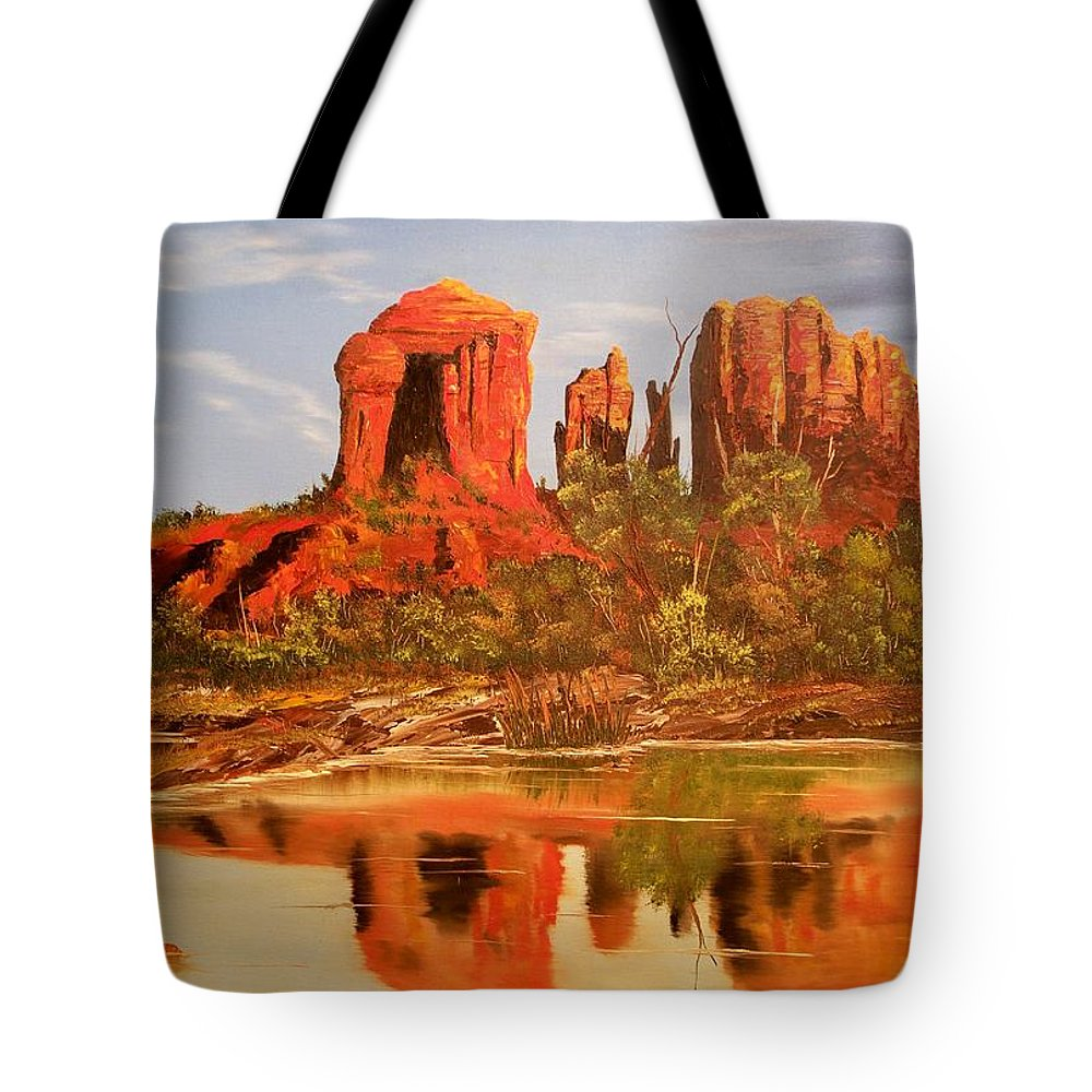 Rocks Tote Bag featuring the painting Red Rock by Patrick Trotter