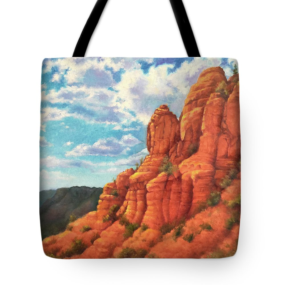 Sedona Tote Bag featuring the painting Red Rocks by Teri Rosario
