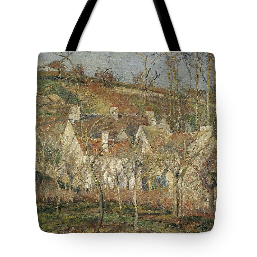 Camille Pissarro Tote Bag featuring the painting Red Roofs, Corner Of A Village, Winter by Camille Pissarro