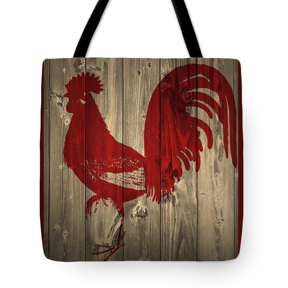 Red Rooster Barn Door Tote Bag featuring the photograph Red Rooster Barn Door by Dan Sproul