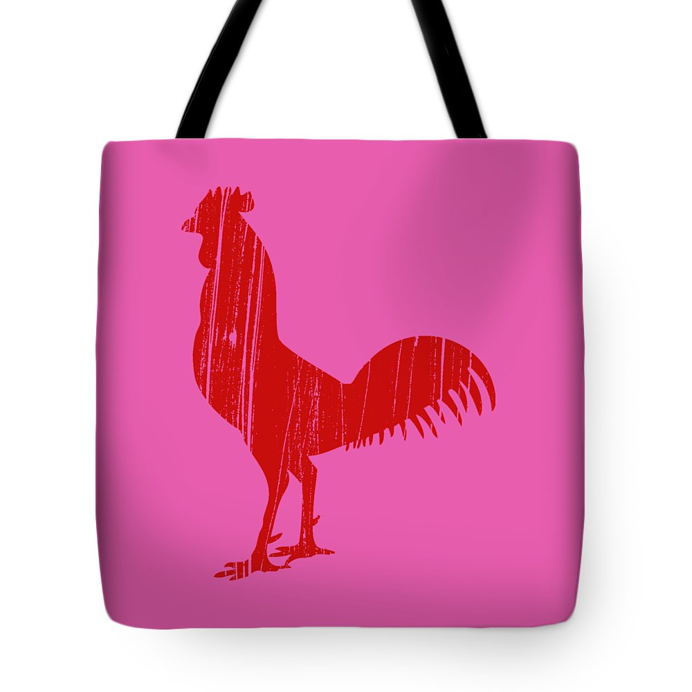 Red Tote Bag featuring the drawing Red Rooster Tee by Edward Fielding