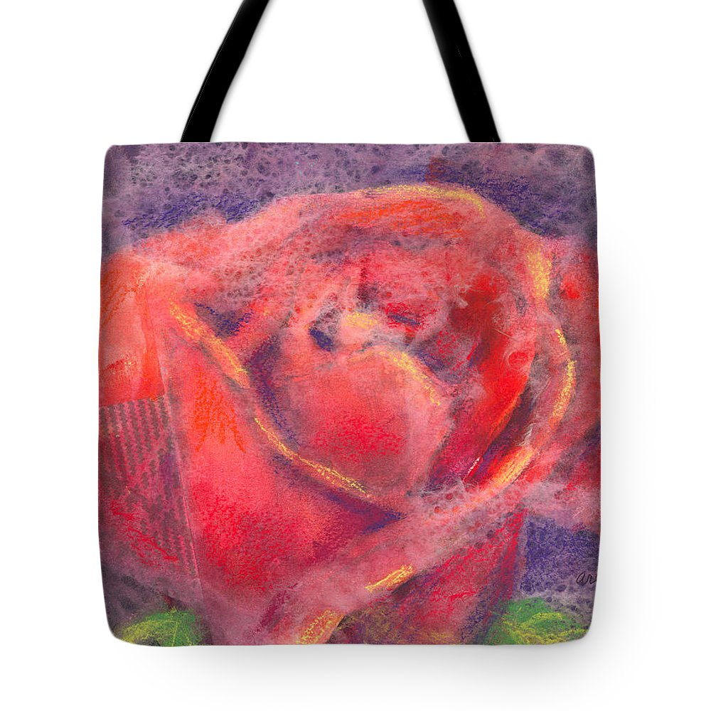 Rose Tote Bag featuring the mixed media Red Rose by Arline Wagner