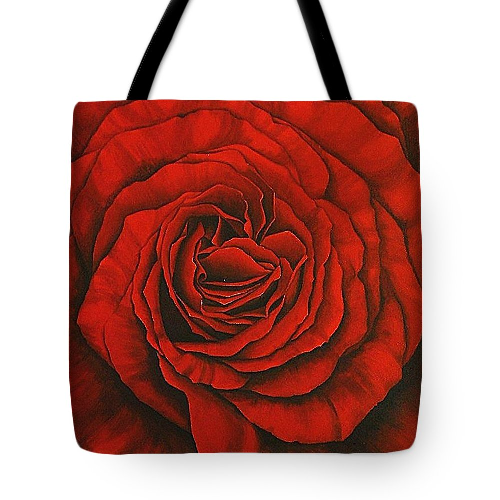 Red Tote Bag featuring the painting Red Rose II by Rowena Finn