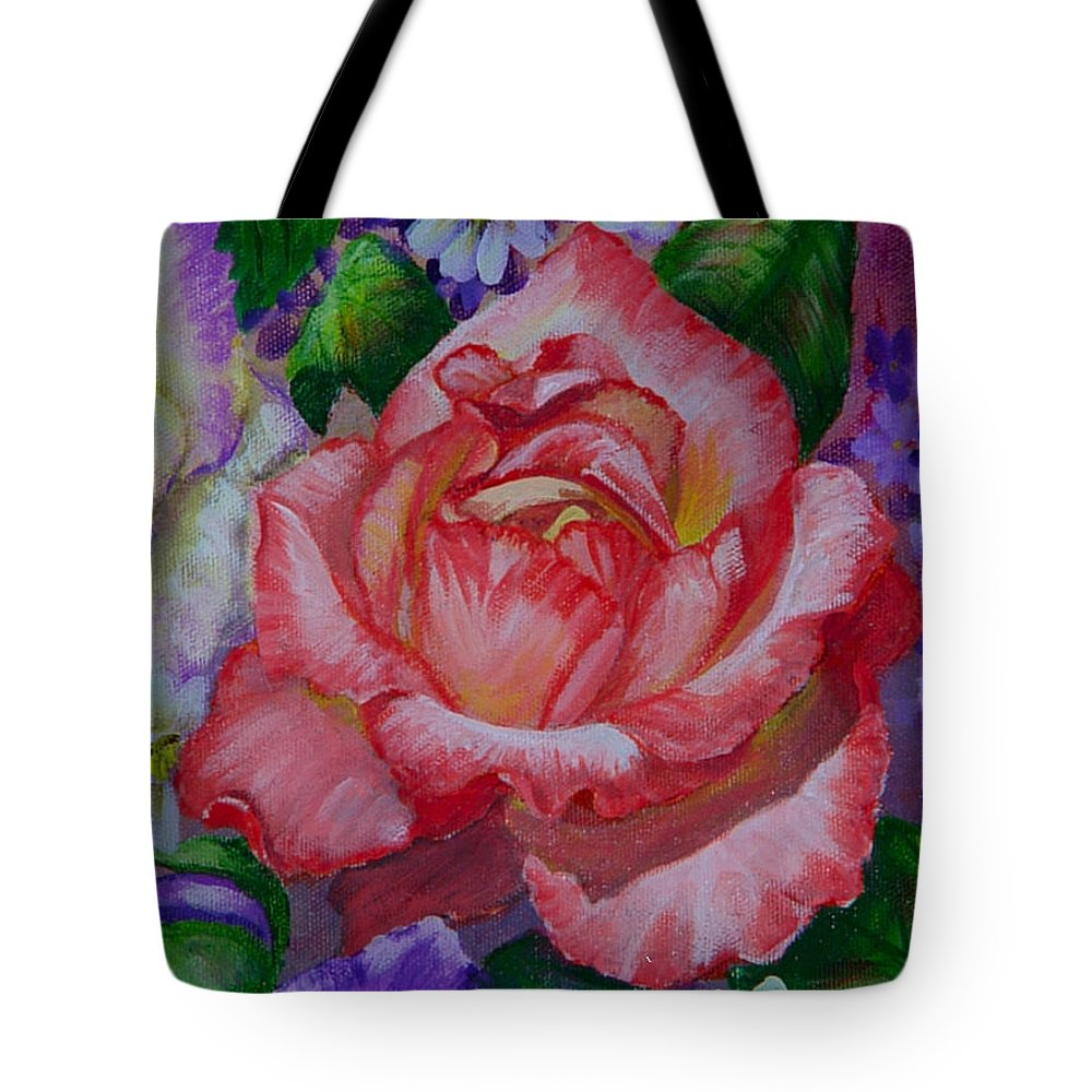 Rose Tote Bag featuring the painting Red Rose by Quwatha Valentine