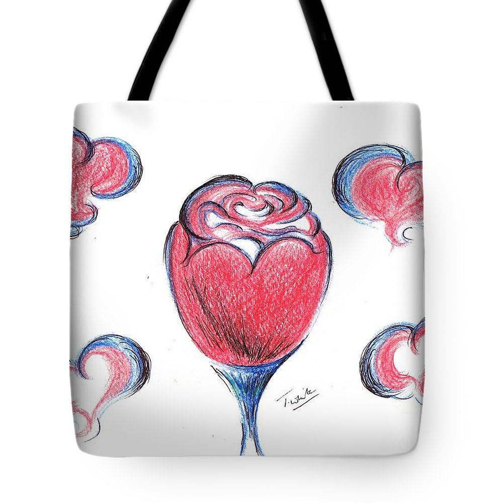 Teresa White Tote Bag featuring the drawing Red Rose- With Love by Teresa White