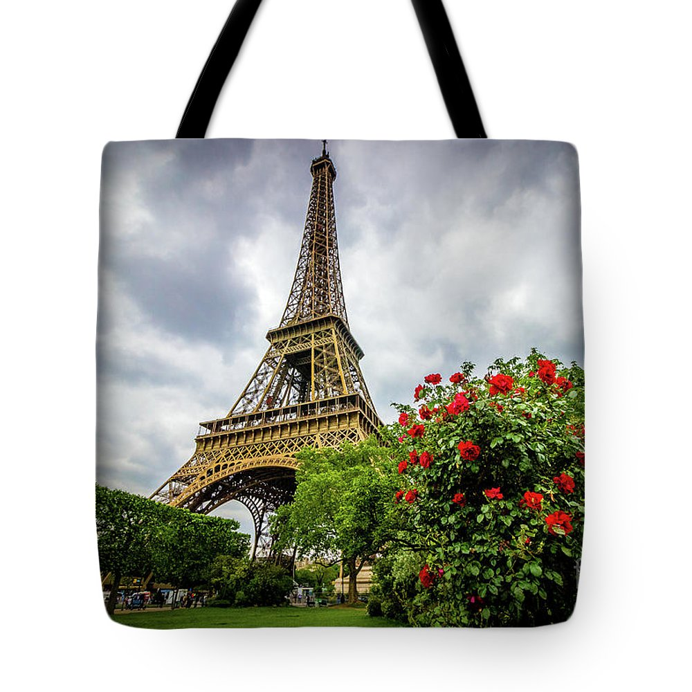 - Red Roses At Eiffel Tower Garden, Paris, Color Tote Bag For Sale