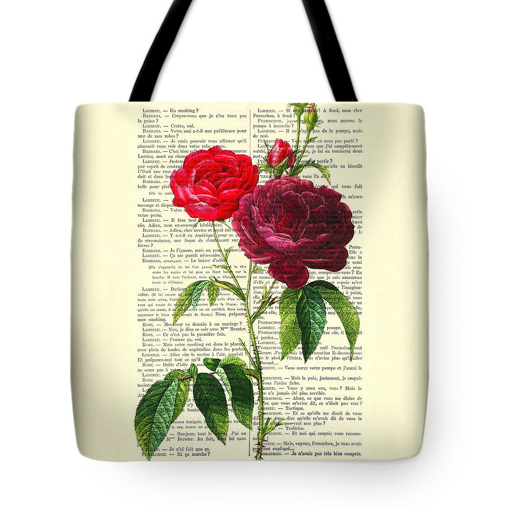 Red Rose Tote Bag featuring the digital art Red Roses For Valentine by Madame Memento