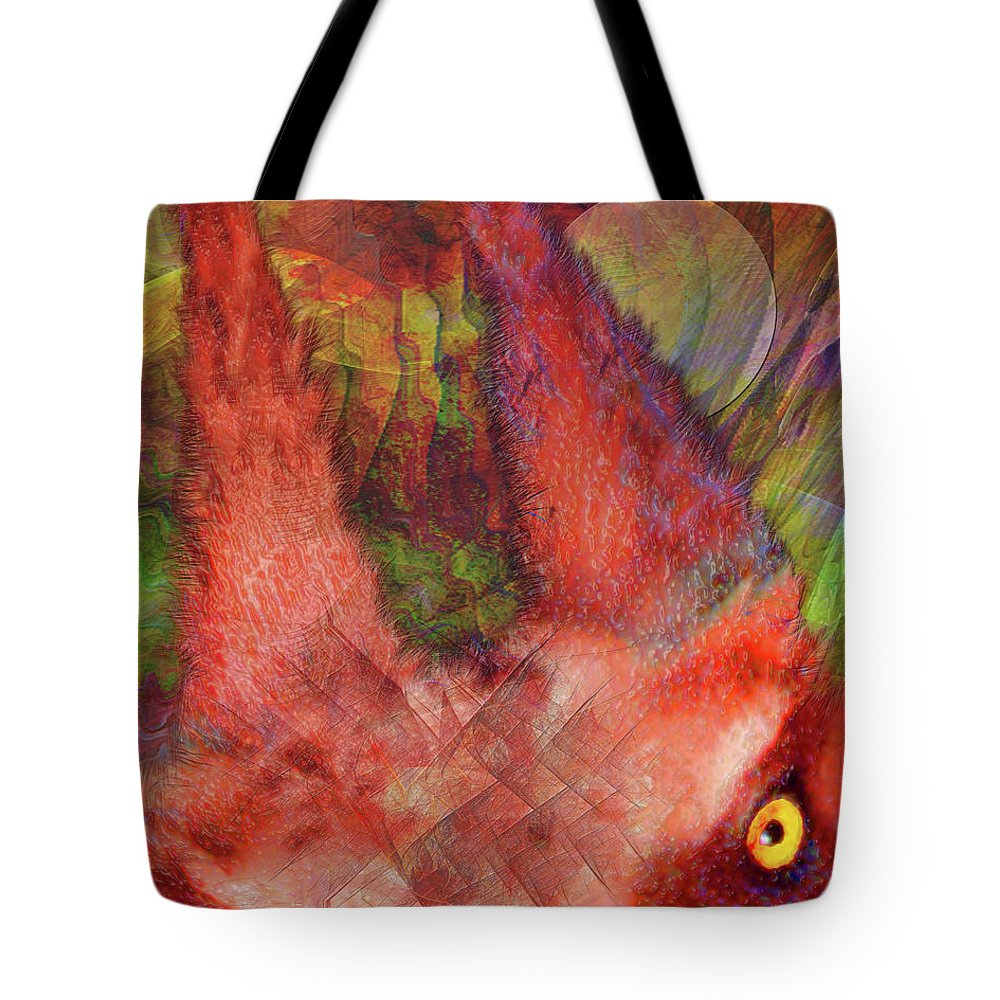 Red Rover Tote Bag featuring the digital art Red Rover by John Beck
