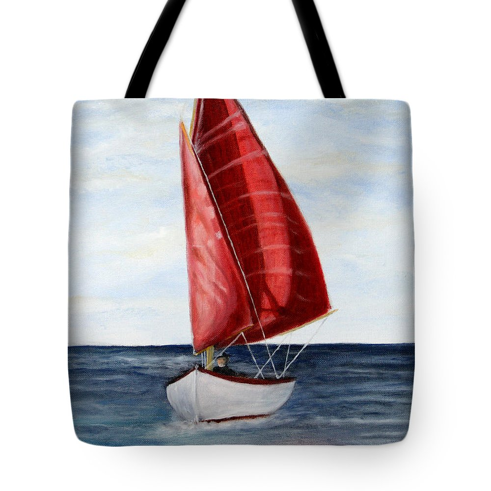 Sailboat Tote Bag featuring the painting Red Sail Serenity by Dennis Smith