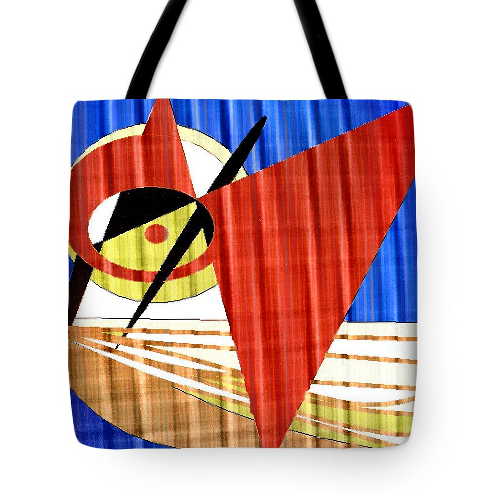 Boat Tote Bag featuring the digital art Red Sails In The Sunset by Ian MacDonald