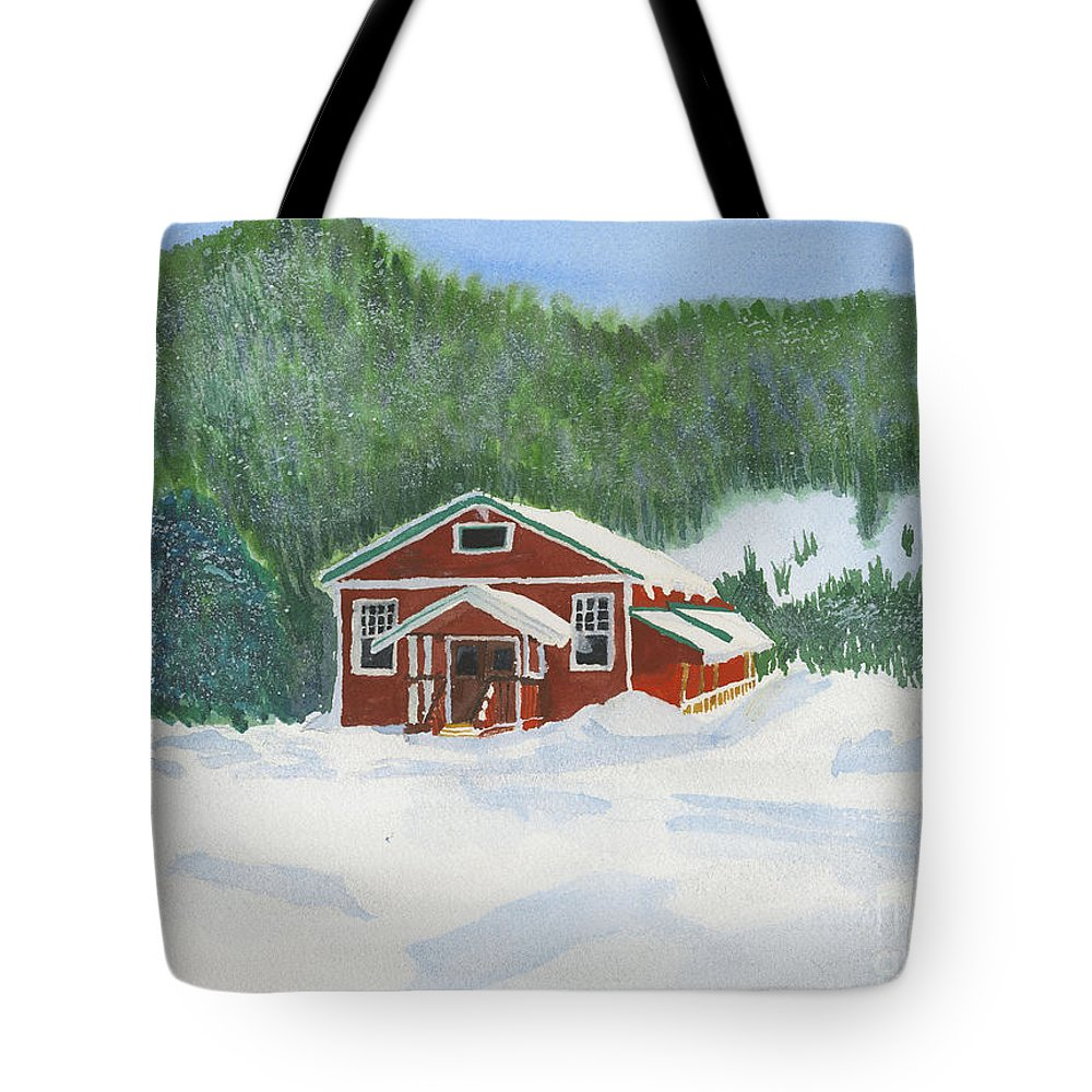 Schoolhouse Tote Bag featuring the painting Red School House by Louise Magno