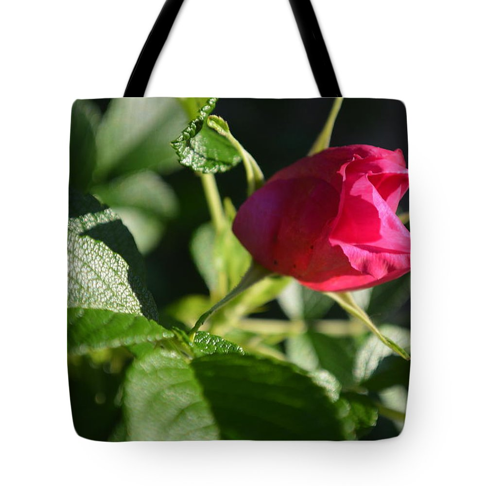 Flower Tote Bag featuring the photograph Red Semi Rose Bud by Tina M Wenger